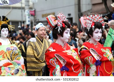 Tokyo, Japan - April 9, 2016: Oiran Dochu Procession is a parade of Japanese traditional courtesans, held on the second Saturday of April. An intangible asset representing the culture of the Edo era.