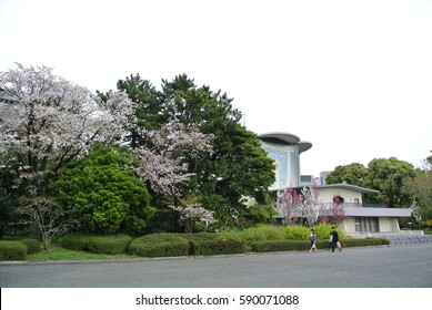 Tokyo, Japan - April 9, 2016: Toka-Gakudo Music Hall in Tokyo Imperial Palace was built in 1966 to celebrate the 60th birthday of the late Kojun Empress, wife of Showa Emperor.