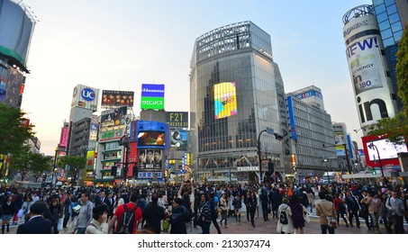TOKYO JAPAN - APRIL 9 : Shibuya shopping area April 9, 2014 in Tokyo, Japan. The district is a map or shopping area for teenager and tourist from around the world.