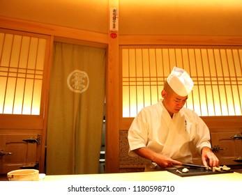 Tokyo / Japan - Aug 12 2018: Japanese Sushi master.