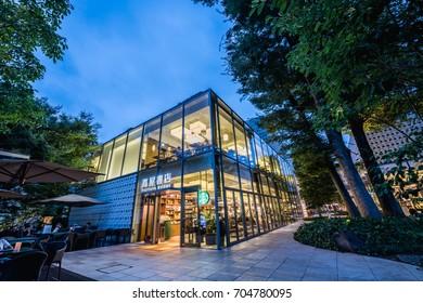 TOKYO, JAPAN - AUG 14, 2017.  TSUTAYA BOOKSTORE Japanese Bookstore in Daikanyama Tokyo,Japan.