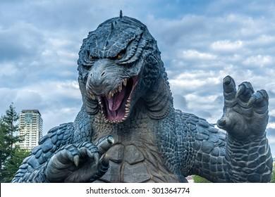 TOKYO, Japan - AUG 30, 2014: Godzilla statue in Roppongi