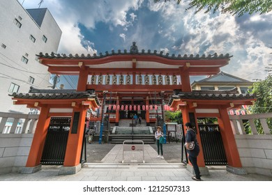 Tokyo, Japan - August 03, 2018 : Gate and Honden (Main Hall) of Bishamonten Zenkoku-ji Temple. located at Waseda-dori street, Kagurazaka district in Shinjuku Ward
