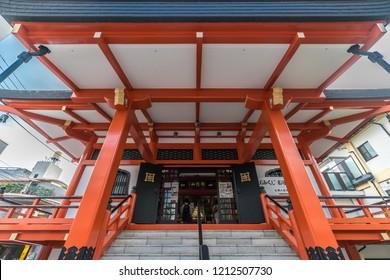 Tokyo, Japan - August 03, 2018 : front view of Honden (Main Hall) of Bishamonten Zenkoku-ji Temple. located at Waseda-dori street, Kagurazaka district in Shinjuku Ward