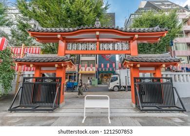 Tokyo, Japan - August 03, 2018 : Main gate of Bishamonten Zenkoku-ji Temple. located at Waseda-dori street, Kagurazaka district in Shinjuku Ward