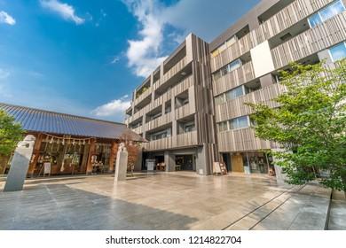 Tokyo, Japan - August 03, 2018 : Akagi Cafe and Akagi Jinja. Shinto srine renewed in 2010 by architect Kengo Kuma. Located in Kagurazaka in Akagi -Motomachi district, Shinjuku Ward.