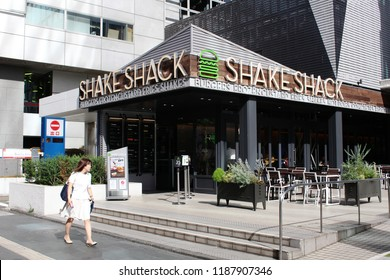 TOKYO, JAPAN - August 15, 2018: A Shake Shack fast food restaurant in Roppongi in central Tokyo.