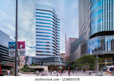 TOKYO, JAPAN - August 16 2018: Statue of the Godzilla radioactive monster in the middle of the Hibiya Godzilla Square opens on March 22, 2018 to celebrate the 30th anniversary of the Hibiya Chanter