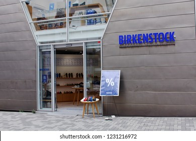TOKYO, JAPAN - August 17, 2017: The front of a Birkenstock shoe store in Omotesando central Tokyo.