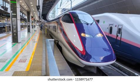 TOKYO, JAPAN - AUGUST 17TH, 2018 . High speed bullet train at Tokyo Railway Station platform.