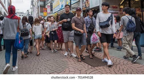 TOKYO, JAPAN - AUGUST 19TH, 2017. Crowd of people at Takeshita Dori, the focal point of Tokyo's teenage culture.