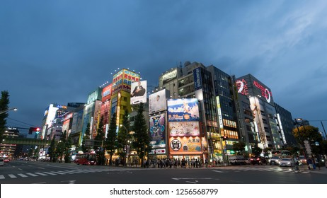 Tokyo, Japan - August 2018: Akihabara Crosswalk Junction in the evening with colorful lights