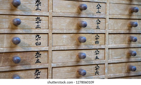 Tokyo, Japan - August 2018: Close up of drawers for Omikuji - Paper Fortune at Sensoji Asakusa Kannon Temple