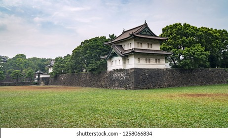 Tokyo, Japan - August 2018: Guard Tower at the Imperial Palace in Tokyo with buildings of Otematchi
