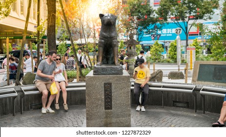 Tokyo, Japan - August 2018: Hachiko Memorial statue. The story of Akita dog became legend and a small statue was erected in front of Shibuya Station