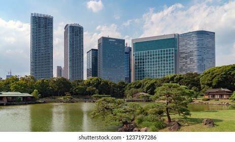 Tokyo, Japan - August 2018: Hamarikyu Gardens is a large and attractive landscape garden in Tokyo, Chuo district, Sumida River, Japan