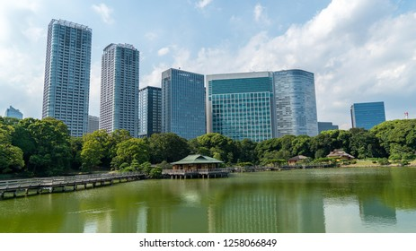 Tokyo, Japan - August 2018: Hamarikyu Gardens is a large and attractive landscape garden in Chuo district, Sumida River