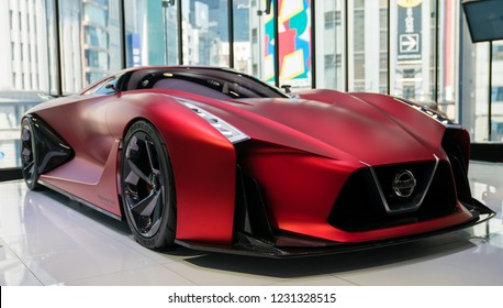 Tokyo, Japan - August 2018: The Nissan Concept 2020 Vision Gran Turismo vehicle on display at Nissan Crossing showroom in the Ginza district.