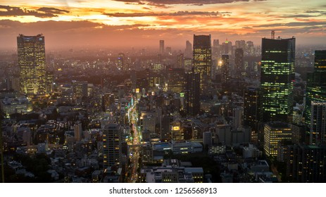 Tokyo, Japan - August 2018: Tokyo skyline during sunset as seen from the Tokyo Tower