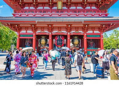 TOKYO, JAPAN - AUGUST 21, 2018: Senso-ji Temple in Asakusa area, Tokyo, Japan. Senso-ji is an ancient Buddhist temple located in Asakusa, Tokyo, Japan.