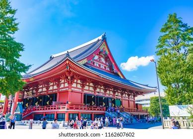 TOKYO, JAPAN - AUGUST 21, 2018: Senso-ji Temple in Asakusa area, Tokyo, Japan. The Senso-ji Temple is dedicated to Kannon Bosatsu, the Bodhisattva of compassion.