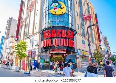 TOKYO, JAPAN - AUGUST 21, 2018: Don Quijote in Asakusa, Tokyo, Japan. Don Quijote  is a discount chain store that has over 160 locations throughout Japan.
