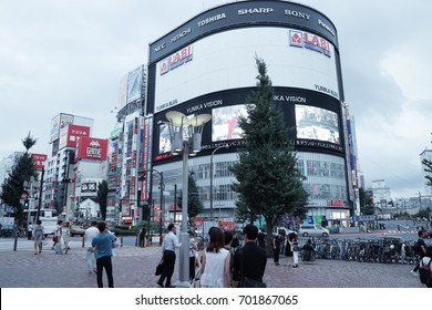 TOKYO, JAPAN - AUGUST 21,2017: People visit in shibuya streer the location is the shibuya district for shopping in the city