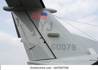 Tokyo, Japan - August 22, 2009:United States Air Force Beechcraft UC-12J Huron vertical fin.