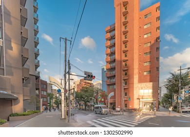 TOKYO, JAPAN - August 23 2018: Metal portal that marks the entrance to Nippori's textile district, which stretches more than a kilometer and brings together more than 80 wholesalers.