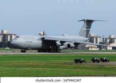 Tokyo, Japan - August 24, 2009:United States Air Force Lockheed Martin C-5A Galaxy transport aircraft.