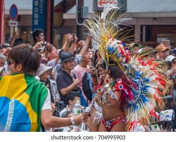 TOKYO, JAPAN - AUGUST 26TH, 2017. Dancers in samba costumes at the Asakusa Samba Carnival Parade in Tokyo.