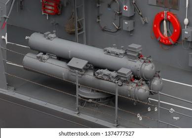 Tokyo, Japan - August 30, 2008: Japan Maritime Self-Defense Force HOS-302 324mm torpedo tubes on JS Murasame (DD-101).