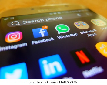 Tokyo, Japan. August 30, 2018 - social media applications on smartphone screen. facebook, instagram, whatsapp, microsoft apps close up.