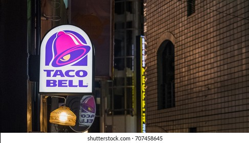TOKYO, JAPAN - AUGUST 31ST, 2017. Taco Bell fast food American restaurant chain sign in Shibuya.