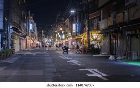 TOKYO, JAPAN - AUGUST 3RD, 2018. View of Asakusa back alley at night.