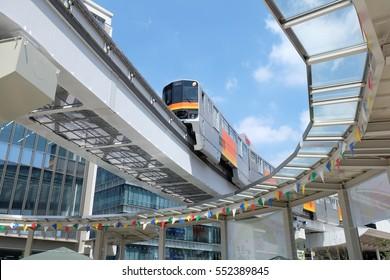 Tokyo, Japan - August 4: Tama monorail passes through 'Tacross Hiroba' that opens at Tachikawa, Tokyo, Japan on August 4, 2016.