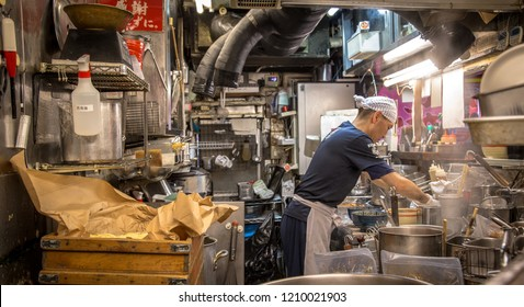 Tokyo / Japan - August 7th 2018: Cook at a ramen shop in Akihabara district in Tokyo