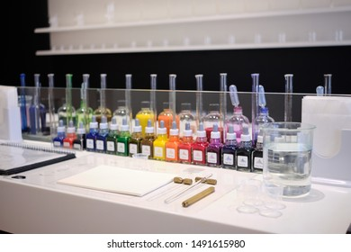 Tokyo / Japan - August 8th 2019: In the Kuramae district of Tokyo Inkstand by Kakimori provides custom mixed writing inks. A desk contains all the items needed to make a custom mix with coloured ink.