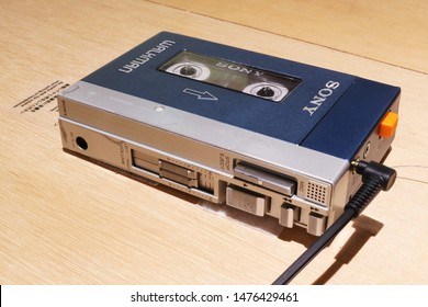 TOKYO, JAPAN - August 9, 2019: A 1980 Walkman model on display at the '#009 Walkman in the Park' exhibition at Ginza Sony Park, held to commemorate the Walkman's 40th anniversary.