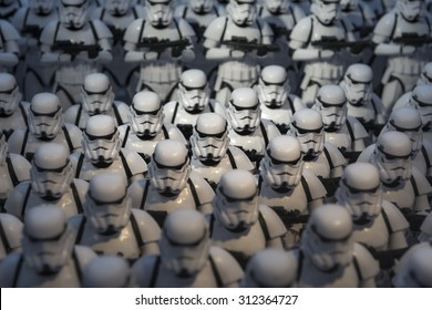 TOKYO, JAPAN - AUGUST An army of miniature model Stormtrooper figures lined up in a display illustrating the merchandise for the Starwars films shown on August 7, 2015 in Tokyo, Japan