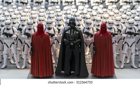 TOKYO, JAPAN - AUGUST Minature model figures of Darth Vader and storm troopers lined up in a display illustrating the merchandise related to the Starwars films shown on August 7, 2015 in Tokyo, Japan