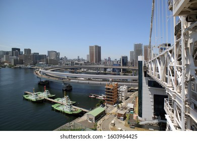 TOKYO, JAPAN, CIRCA 2015 - Look to the Odaiba city district from the bridge circa 2015 in Tokyo, Japan