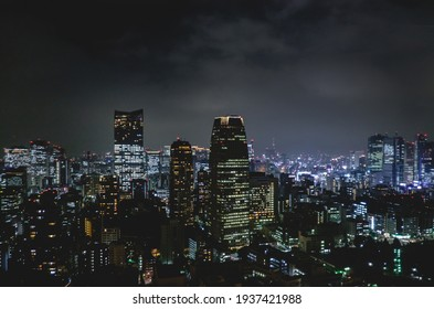 Tokyo, Japan - Circa 2015: Panoramic view of Tokyo skyline and lights by night from Tokyo Tower Observation Deck