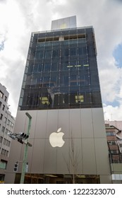 Tokyo, Japan - CIRCA 2018: The company's logo is seen outside Tokyo's Apple store during a media preview in Tokyo, Japan