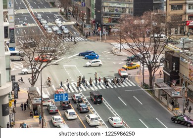 TOKYO, JAPAN - CIRCA, 2018: One of the main intersection in Tokyo, Japan