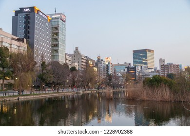 TOKYO, JAPAN - CIRCA, 2018: View from Shinobazunoike Bentendo of the Shinobazu Pond within Ueno Park, a spacious public park located in the Ueno section of Taitō, Tokyo, Japan
