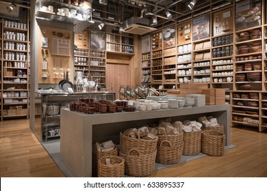 TOKYO, JAPAN - CIRCA MARCH, 2017: Kitchen Goods inside Muji Store. MUJI is popular Japanese brand which sell home and decor items as well as clothing and accesories.