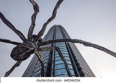 TOKYO, JAPAN - CIRCA MARCH, 2017: Louise Bourgeois spider sculpture in Roppongi.