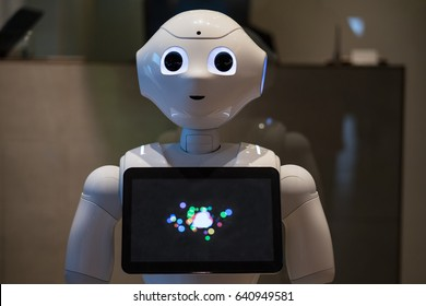 TOKYO, JAPAN - CIRCA MARCH, 2017: Pepper robot. Pepper is a humanoid robot by Aldebaran Robotics and SoftBank designed with the ability to read emotions.