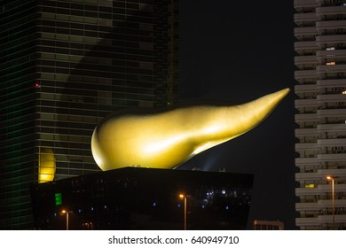 TOKYO, JAPAN - CIRCA MARCH, 2017: The Asahi Flame at the top of Asahi Beer Hall in Sumida, designed by Philippe Starck.